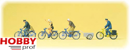 Cyclists, bicycle trailer