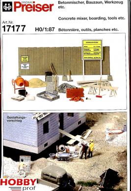 Concrete mixer, boarding, tools etc.