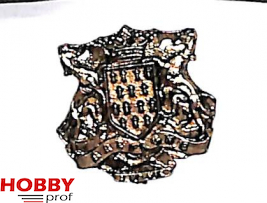 Coat of arms with 2 horses and text 'bretagne', 23x22mm
